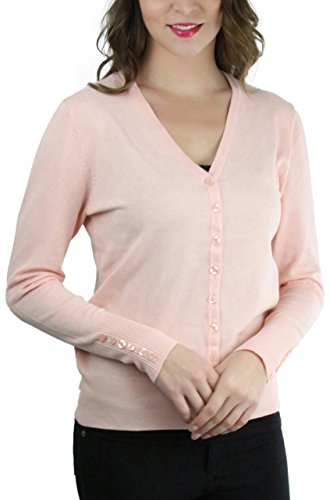 Dusty Peach - ToBeInStyle Women's Button Down L.S. Cardigan - Dusty Peach - Medium