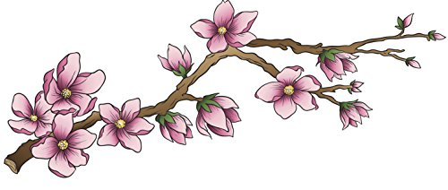 Pretty Detailed Chinese Japanese Pink Cherry Blossom Branch Vinyl Decal Sticker (4