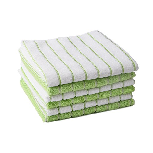 Bamsod Microfiber Striped Cotton Dish Towels,Decorative Kitchen Wash Clean Cloths,Tea Towels Set of 6,13.7x13.7 inch(Green and white) - Winter Dish Towels