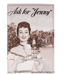 "Genesee Beer Ask for Jenny, Metal Tin Sign, Vintage Style Wall Ornament Coffee & Bar Decor, Size 8"" X 12"
