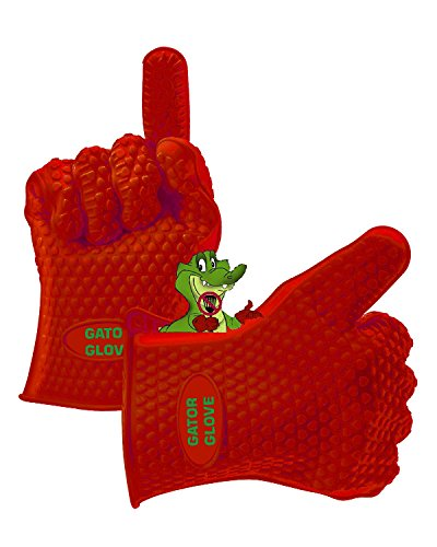 Lynx Infrared Grill - Silicone Gator Gloves - Highest Rated Heat Resistant Silicone BBQ Oven Gloves - Red