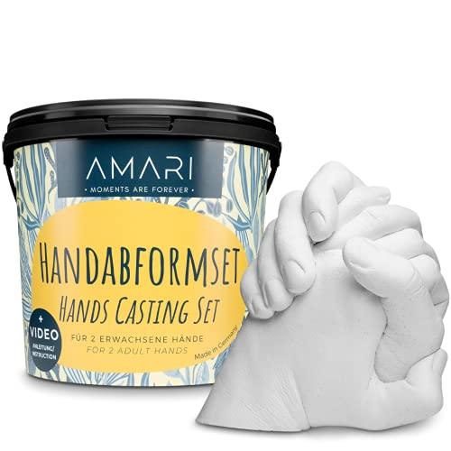 Amari® Molde Manos escayola – Yeso para moldes Manos para Parejas y familias – Yeso moldes Escultura Manos moldes de escayola alginato para moldes de Manos escayola para moldes Molde de Manos 3D