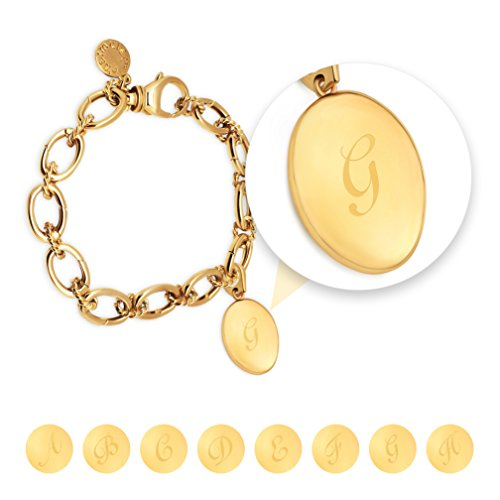 CHARMULET 14k Plated Gold Charm Bracelet with Oval Initial Locket Letter G - Gift Box Included