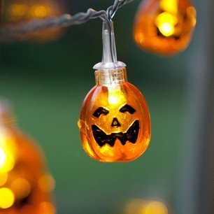 SUYEPER Battery Operated LED Fairy String Lights 3D Pumpkin 10 LEDs Halloween Decoration Light