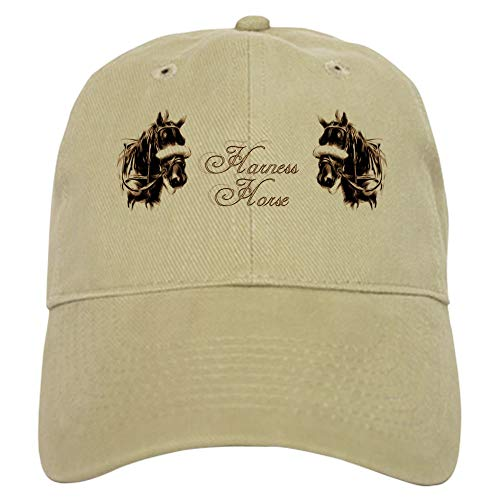(CafePress Harness Horses Baseball Cap with Adjustable Closure, Unique Printed Baseball Hat Khaki)