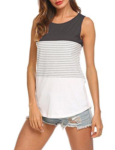 (Hount Women Round Neck Red and White Striped Shirt Summer Tank Tops (Black, XXL))