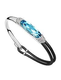 "Alvdis Fashion Jewelry Stone Style Sterling Swarovski Crystal Pendant Bracelet, 6.7"""