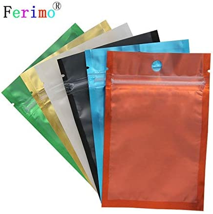 Variety of Colors for 100 PCS Clear /& Colored Foil Mylar Zip Lock Bags