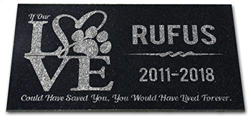 (You Left Paw Prints on Our Hearts Pet Headstones Personalized Grave Markers Absolute Black Granite Garden Plaque Engraved with Dog Cat Name Dates)