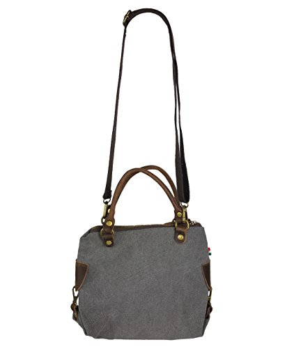 VERA PELLE - Made in Italy Canvas Echtleder Damentasche Shopper Henkeltasche 3 Größen * Stern * Dunkelgrau - S