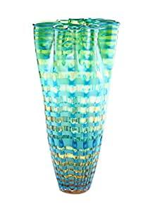 "Amazon.com: New 17"" Hand Blown Art Glass Vase Green ... Ruffled Handkerchief Glass Vases Bedford, A"