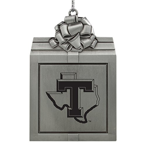 Tarleton State University -Pewter Christmas Holiday Present Ornament-Silver
