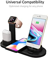 Soporte Base de Carga para iPhone AirPods Apple Watch, 3 en 1 Estación de Cargador Inalámbrico Rápido Qi para iPhone 8 X XR XS y Samsung Note8 S8 S9 ...