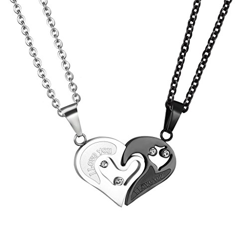PROSTEEL I Love You Couple Heart Necklaces Black Stainless Steel Pendants Couples Jewelry Men Women Anniversary