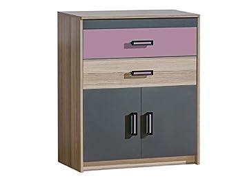 Kommode schlafzimmer dunkel  Kommode Timo mit zwei Türen und zwei Schubladen Esche Dunkel/Violett ...