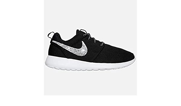dc9d85e142eec Swarovski NIKE Roshe One Casual Custom BLACK and WHITE Bedazzled Kicks  SparkleBoutique2U