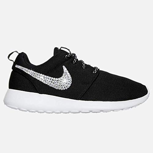 pretty nice b8ecc 06a51 Amazon.com  Swarovski NIKE Roshe One Casual Custom BLACK and WHITE  Bedazzled Kicks SparkleBoutique2U  Handmade