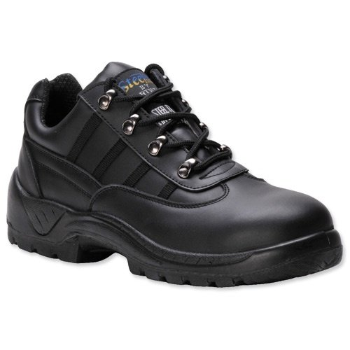 Portwest S1P Trainer Shoes Steel Midsole Buffalo Leather Chemical-resist Black Size 8 Ref FW25SIZE8