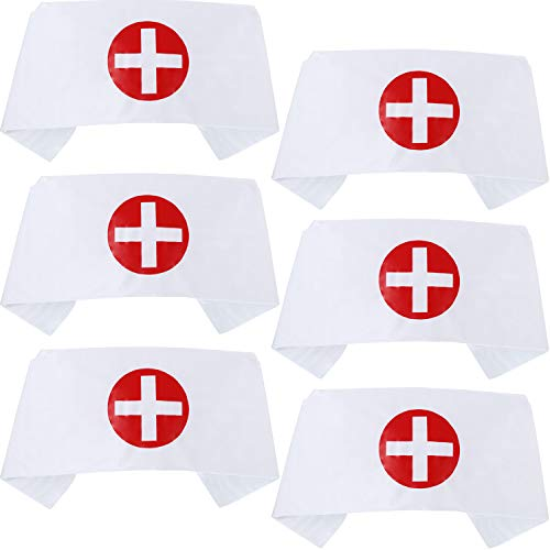 6 Pieces Nurse Hat Headband Print Cross Nurse Costume Hat White Nurse Cap for Halloween Cosplay Party Costume Accessories]()