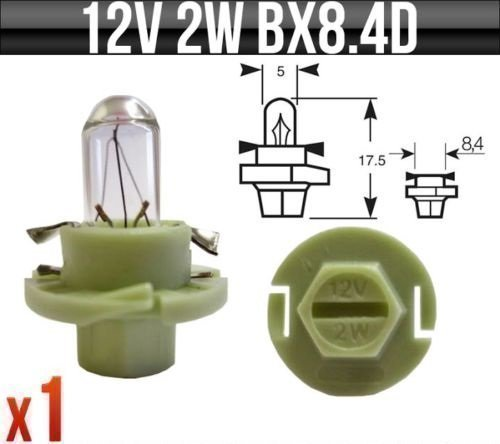 12v 2w BX8.4D (Green base) Dashboard, Indicator & Panel Bulbs R509TMGR Pack of 1 Ring Automotive