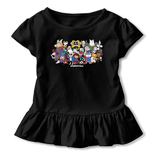 Kinggo Child Undertale Stamp Short Sleeves Falbala T Shirt Underdress Black 5/6T