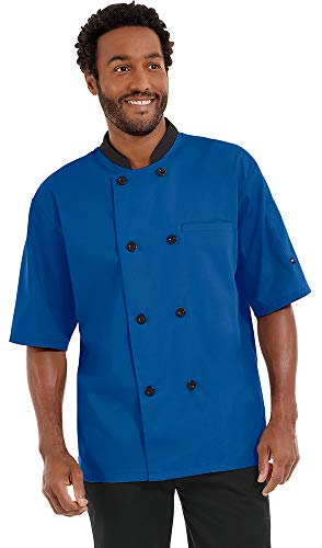 Men's Lightweight Short Sleeve Chef Coat (S-5X, 3 Colors) (XXXX-Large, Royal/Black)