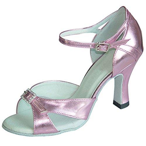 GUOSHIJITUAN Mujer S Lentejuelas Zapatos De Baile Latino,Piel Fondo Blando Tacón Alto Salsa Zapatos De Baile Tango Zapatos De Baile Social A