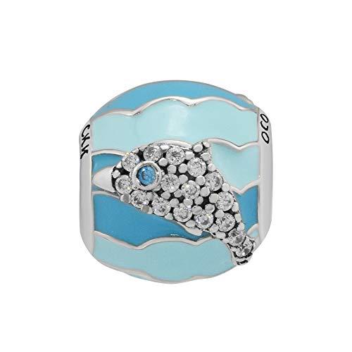 (CKK 925 Sterling Silver Playful Dolphin Charm DIY Fits for Pandora Bead Bracelet,Mixed Blue)