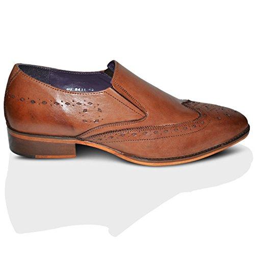 Gucinari Pour Hommes 100% Cuir Brogue Habillé Affaires Chaussures Sans Lacets - Fauve, Homme, 39 EU