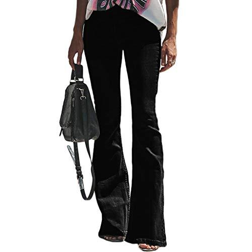 Avec Jeans Jibo Femmes Hiver Unie Fermeture Pantalon Black Et Bouton Haute Couleur À Poche Éclair Automne Serré Cloche Taille Aux r8rqT