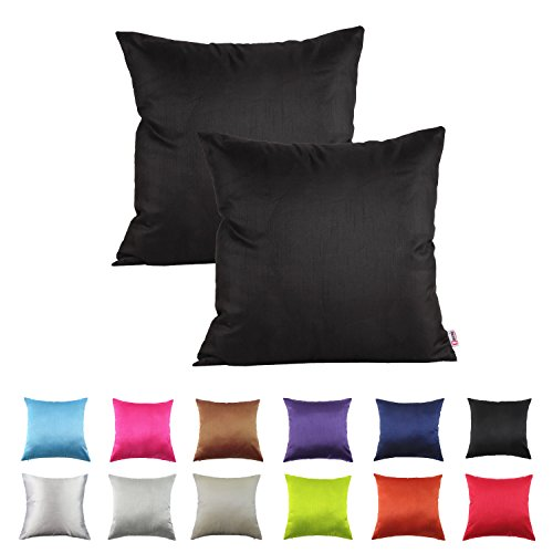 Queenie® - 2 Pcs Solid Color Faux Silk Decorative Pillowcase Cushion Cover for Sofa Throw Pillow Case Available in 12 Colors & 7 Sizes (17.75 x 17.75 inch (45 x 45 cm, Black)