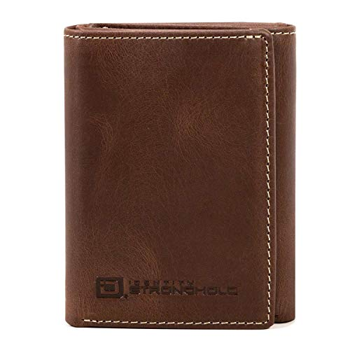 ID Stronghold RFID Blocking Trifold Wallet for Men - Rugged Genuine -