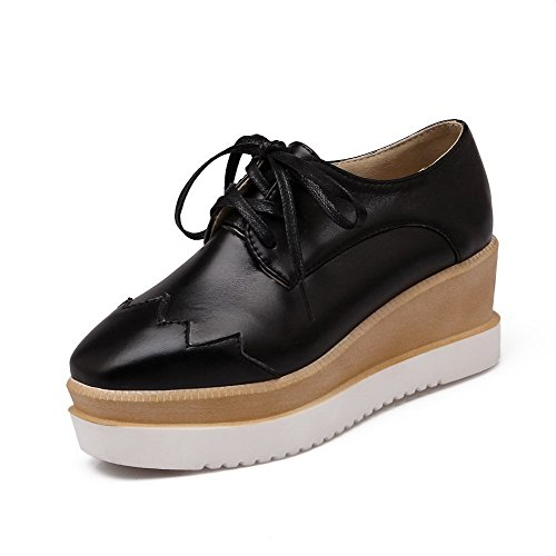 Odomolor Women's Square Closed Toe Kitten Heels Soft Material Solid Lace up Pumps-Shoes Black 0VpcG4