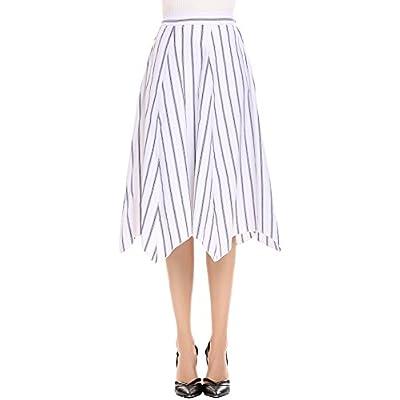 Cheap Zeagoo Women's High Waist Pleated A Line Striped Swing Midi Skirt for cheap