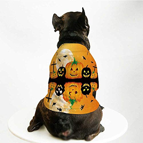 YOLIYANA Halloween Decorations Printing Pet Suit,Spooky Carved Halloween Pumpkin Full Moon with Bats and Grave Lake for Small Dog Teddy Chihuahua Bichon,M -