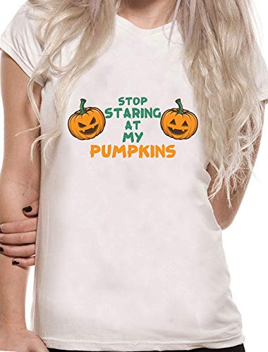 Funny Stop Staring at My Pumpkin Amazing Halloween Horror Novelty Tumblr T Shirt -