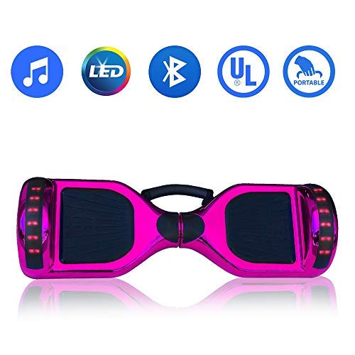 Hoverboard Self Balancing Electric Scooter UL2272 Certified 6.5inch Light Up Wheels Bluetooth Speaker LED Lights Hover Board w/Carry Handle