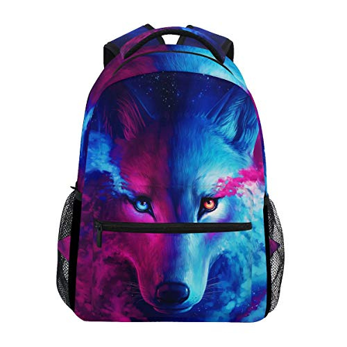 ZZKKO Animal Wolf Colorful Boys Girls School Computer Backpacks Book Bag Travel Hiking Camping Daypack
