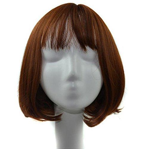 [DEESEE(TM) Natural Lifelike Girls Short Hair Bangs Air Bang Bobo Head Pear Wig (Coffee)] (Making Waves Sailor Costume)