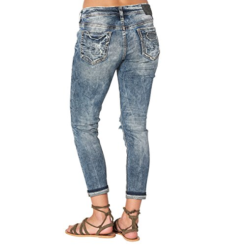 Silver Jeans Women's Co Kenni Mid Rise Girlfriend-Relaxed Skinny, Marble Destroyed, 32 by Silver Jeans Co. (Image #2)