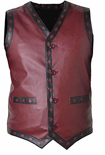 SRHides Men's Fashion Warrior Leather Vest Sheep Red Medium