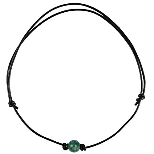 Barch Single Emerald Turquoise Necklace Choker with Black Leather Cord (Round Adjustable Emerald 3#) ()