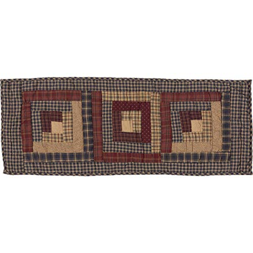 VHC Brands Rustic & Lodge Tabletop & Kitchen - Millsboro Blue Log Cabin Block Quilted Runner, 13