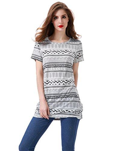 Aphratti Women's Short Sleeve Zig-Zag Pattern Loose Fit Stripe T-Shirt Tunic Top Black Stripe (Black Pattern Shirt)