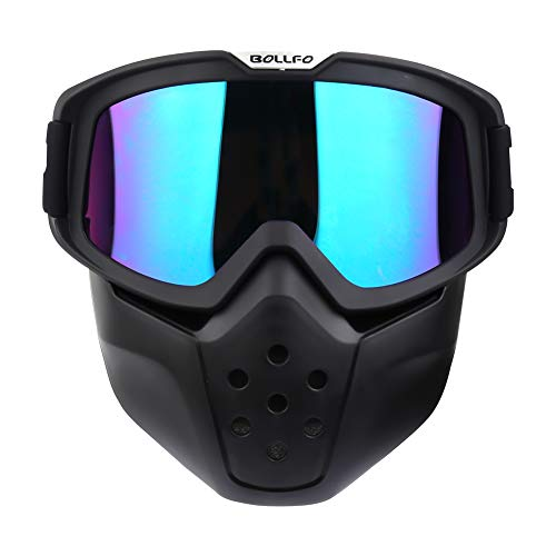 Motorcycle Goggles Detachable Mask Vintage Open Face Helmet Sunglasses UV400 Protection Windproof Dustproof Motocross Motorbike Cycling Skiing Dirt Bike ATV Off Road Racing Shield Goggles ()