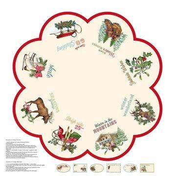 Spruce Mountain Christmas Cream Large Tree Skirt Panel With Wildlife & Snow Sleds Northcott Cotton Fabric DP22257-11
