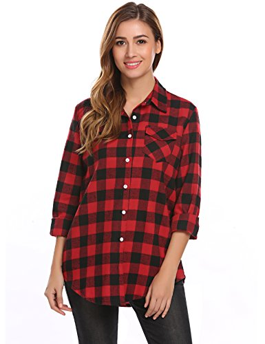 Easther Women Casual Shirt Collar Long Sleeve Plaid Button Shirt