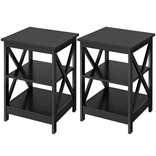 YAHEETECH 3-Tier End Table, X-Design Wooden Sofa Side Table Storage Cabinet, Living Room Furniture, Set of 2, Black