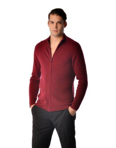 Cashmere Boutique: Men's 100% Pure Cashmere Zip Cardigan Jacket Style Sweater (Color: Black, Size: Medium) ()