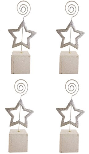 Pack Of 4 Silver Star Glitter Place Card Holders - Christmas Dinner Parties - Christmas wedding (Silver Star Place Card Holder)